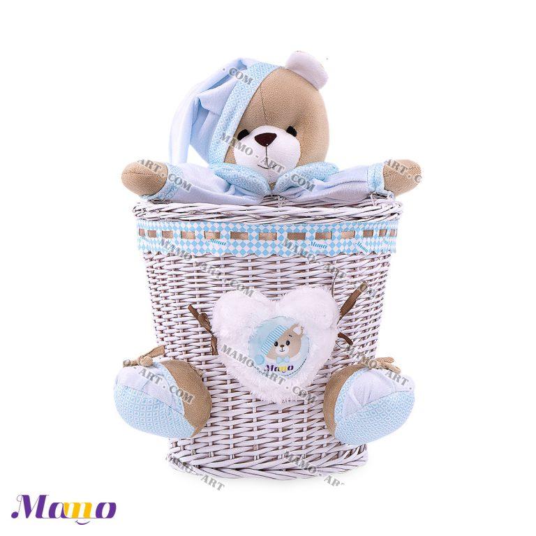 سطل زباله حصیری خرس مامو آبی - بهترین در سیسمونی نوزاد و دکوراسیون اتاق کودک
