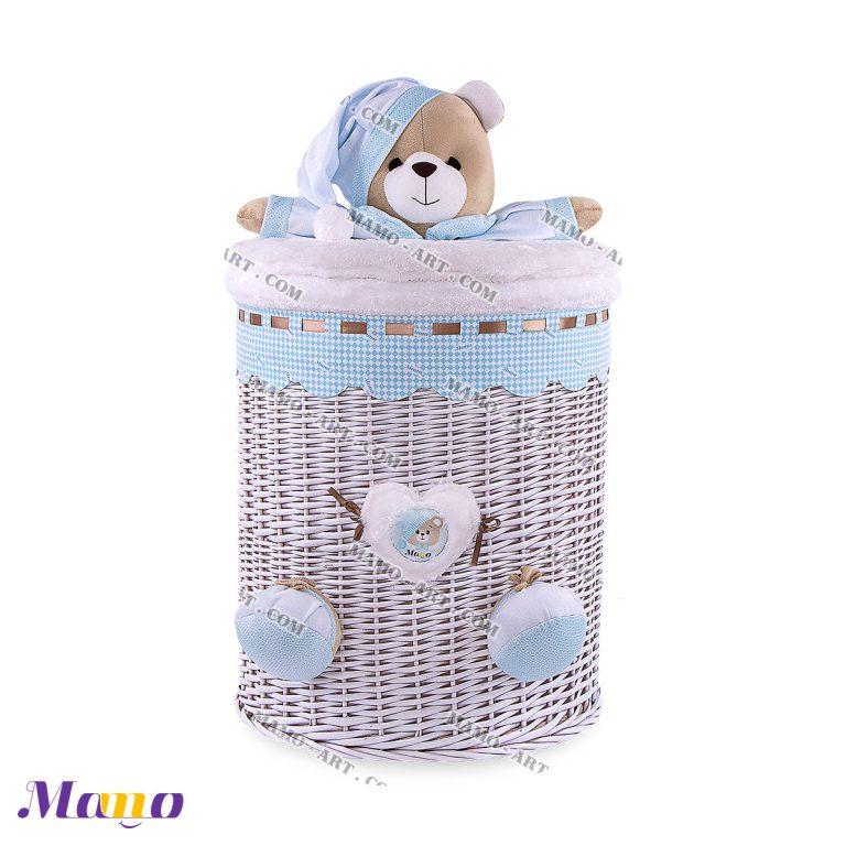 سبد استوانه بزرگ خرس مامو آبی ( نانان ) - بهترین سیسمونی نوزاد و دکوراسیون اتاق کودک