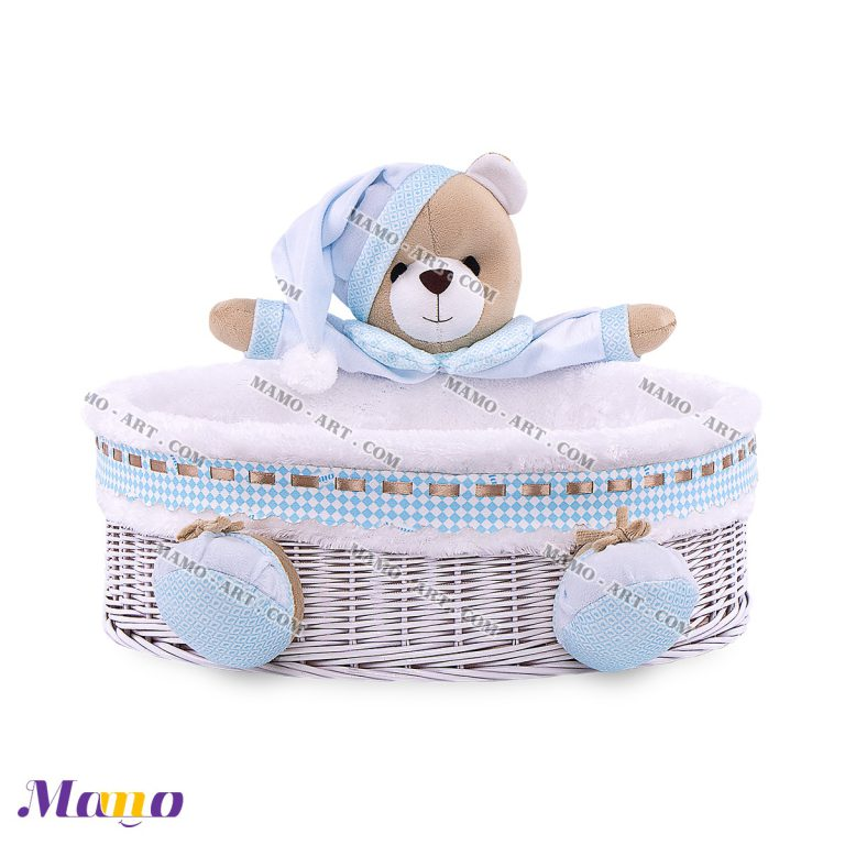 سبد لوازم بهداشتی دایره خرس مامو آبی ( نانان )- بهترین سیسمونی نوزاد و دکوراسیون اتاق کودک
