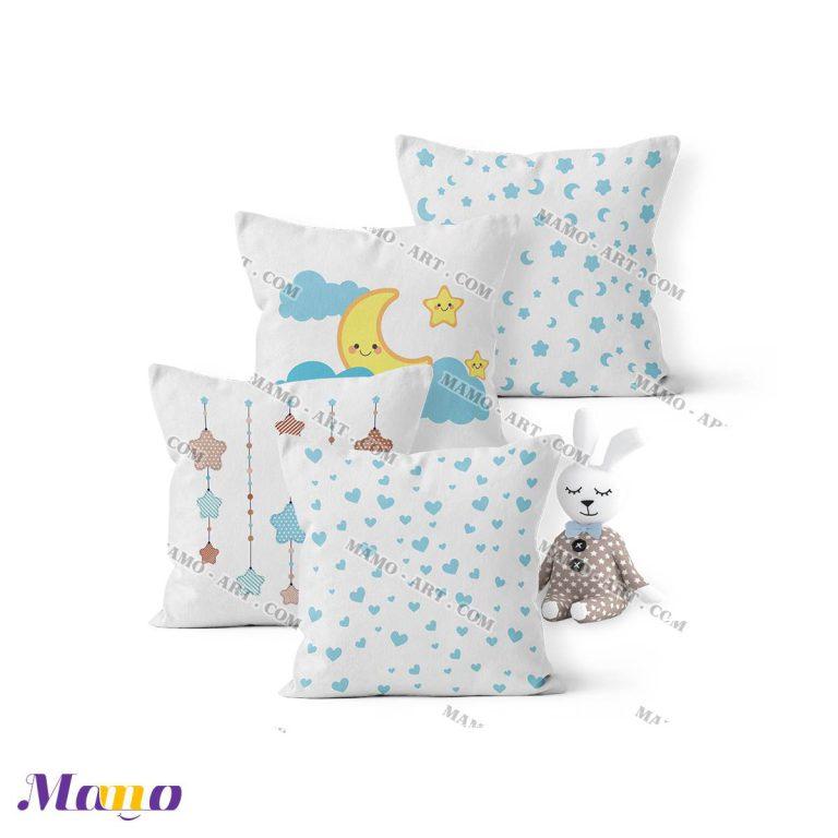 کوسن گارد محافظ تخت نوزاد اتاق کودک خرس مامو آبی - بهترین سیسمونی نوزاد و دکوراسیون اتاق کودک