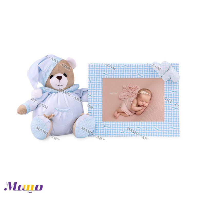 قاب عکس عروسکی خرس مامو آبی ( نانان ) - بهترین در سیسمونی نوزاد و دکوراسیون اتاق کودک