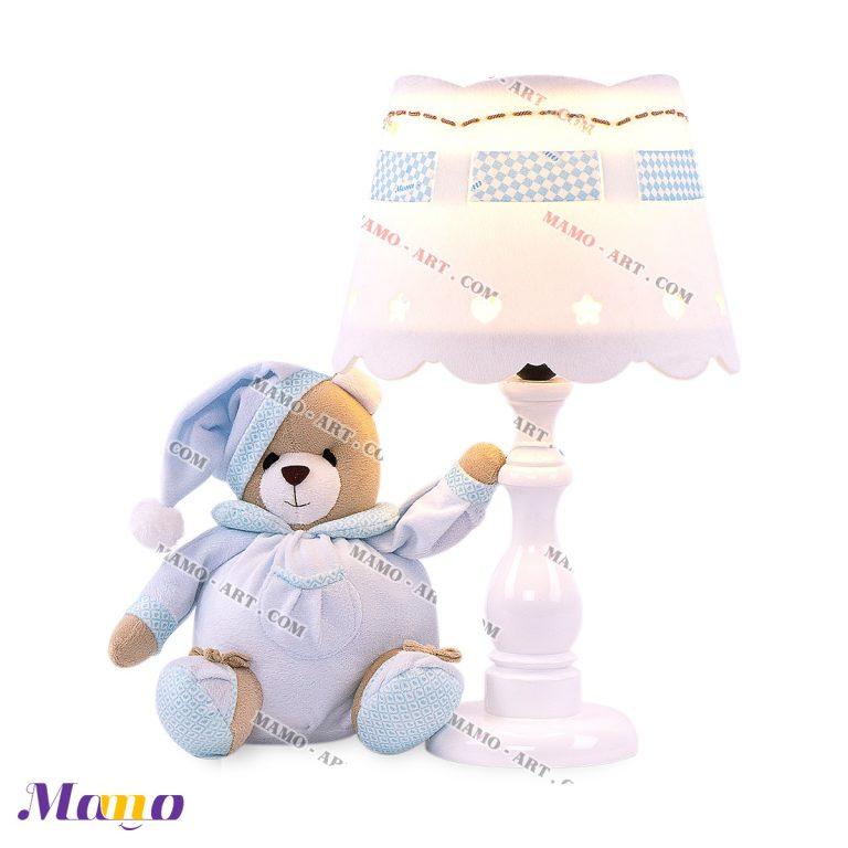آباژور عروسکی خرس مامو آبی ( نانان ) - بهترین در سیسمونی نوزاد و دکوراسیون اتاق کودک