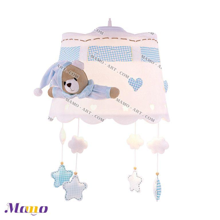 لوستر عروسکی خرس مامو آبی ( نانان ) - بهترین در سیسمونی نوزاد و دکوراسیون اتاق کودک