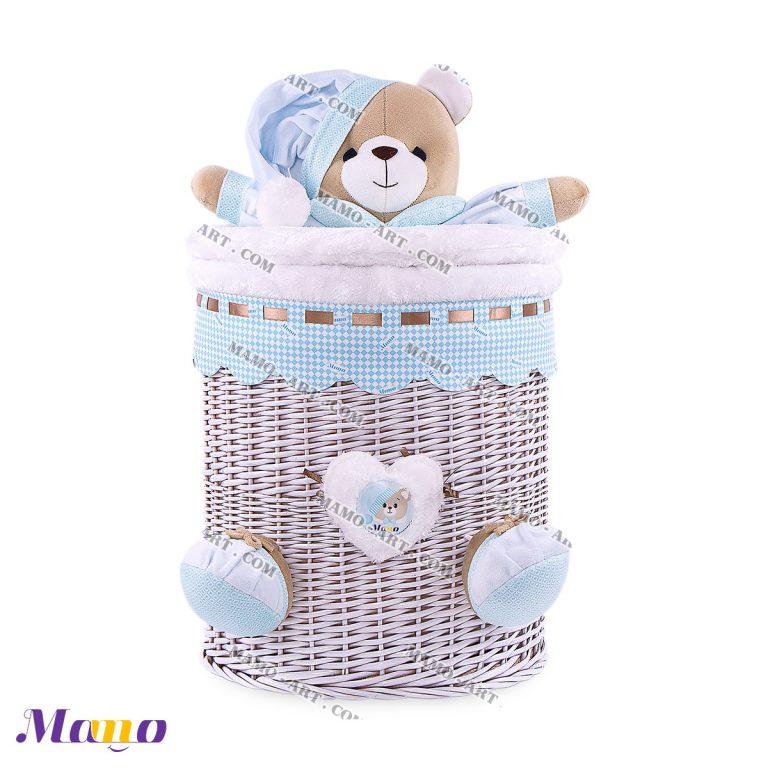 سبد متوسط خرس مامو آبی - بهترین در سیسمونی نوزاد و دکوراسیون اتاق کودک