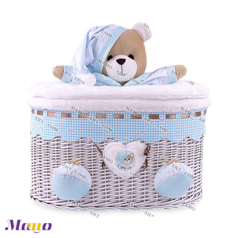 سبد بیضی خرس مامو آبی - بهترین در سیسمونی نوزاد و دکوراسیون اتاق کودک