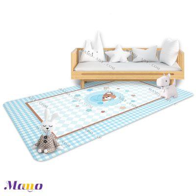 فرش مخمل مستطیل خرس مامو آبی