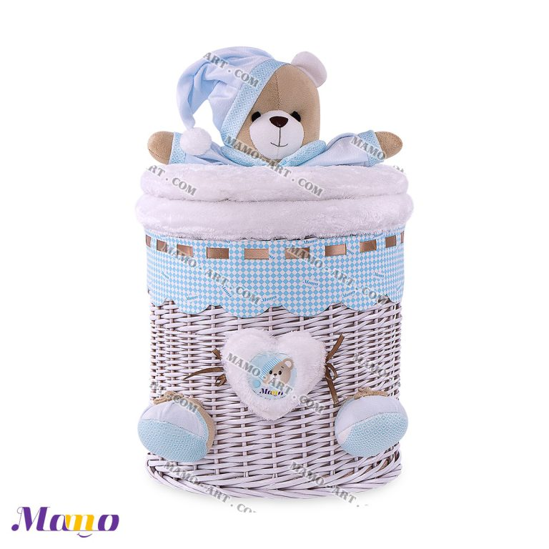 سبد استوانه کوچک خرس مامو آبی ( نانان ) - بهترین در سیسمونی نوزاد و دکوراسیون اتاق کودک