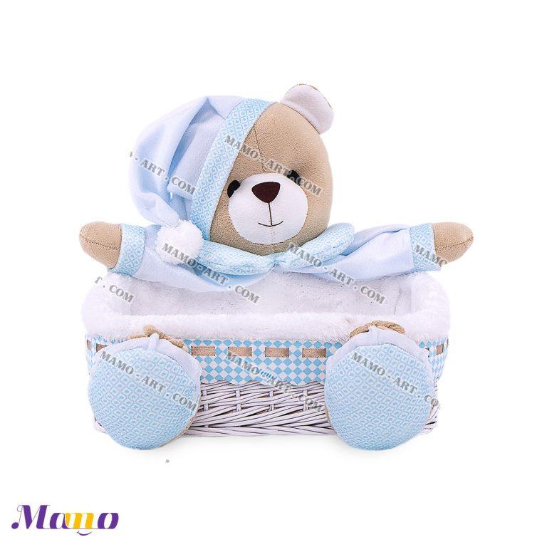 سبد لوازم بهداشتی خرس مامو آبی - بهترین در سیسمونی نوزاد و دکوراسیون اتاق کودک