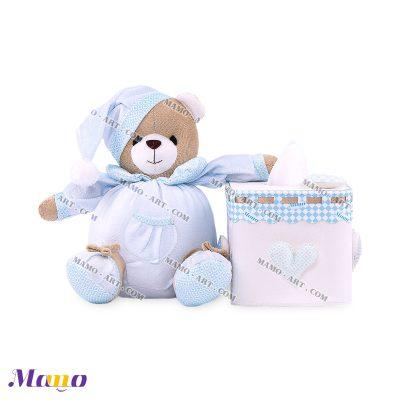 دستمال مربع خرس مامو آبی