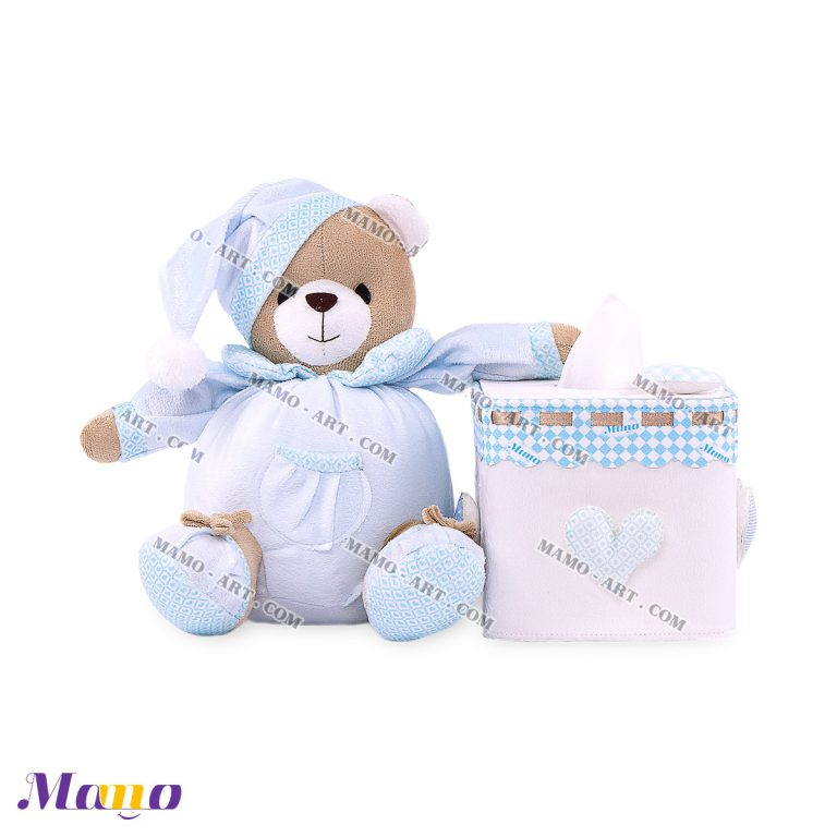 دستمال مربع خرس مامو آبی ( نانان ) - بهترین در سیسمونی نوزاد و دکوراسیون اتاق کودک