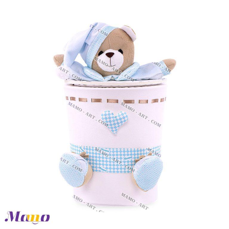 سطل زباله مخمل خرس مامو آبی - بهترین در سیسمونی نوزاد و دکوراسیون اتاق کودک