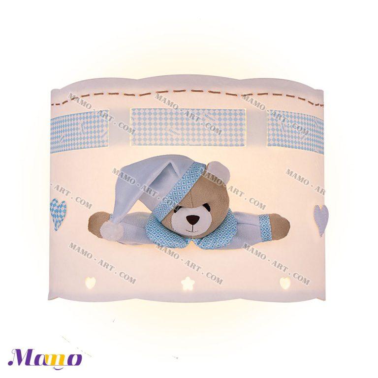 چراغ دیوارکوب دیواری فانتزی اتاق کودک خرس مامو آبی ( نانان )- بهترین سیسمونی نوزاد و دکوراسیون اتاق کودک