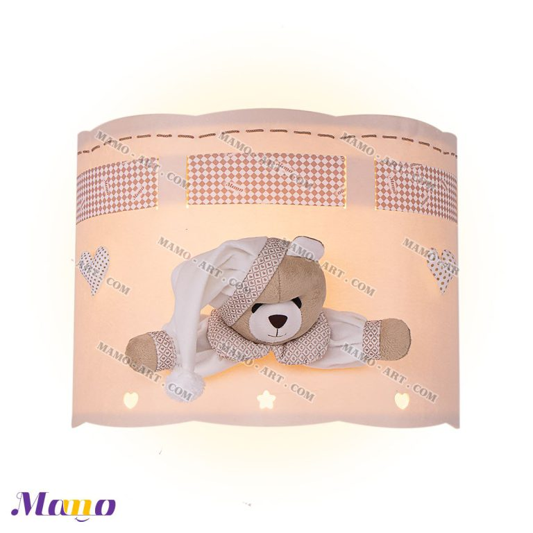 چراغ دیوارکوب چراغ دیواری فانتزی خرس مامو کرم ( نانان ) - بهترین سیسمونی نوزاد و دکوراسیون اتاق کودک