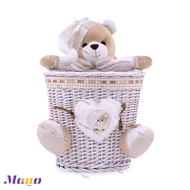 سطل زباله حصیری خرس مامو کرم ( نانان )- بهترین سیسمونی نوزاد و دکوراسیون اتاق کودک