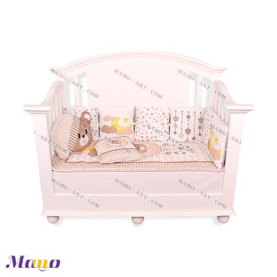 سرویس خواب نوزاد خرس مامو کرم ( نانان ) - بهترین سیسمونی نوزاد و دکوراسیون اتاق کودک