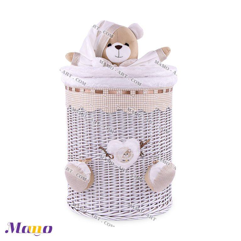 سبد استوانه بزرگ خرس مامو کرم ( نانان ) - بهترین سیسمونی نوزاد و دکوراسیون اتاق کودک