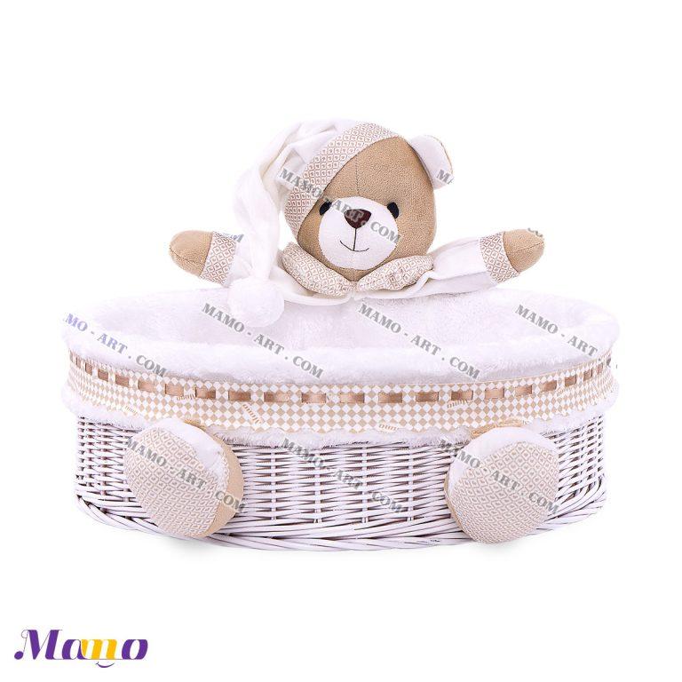 سبد لوازم بهداشتی دایره خرس مامو کرم - بهترین سیسمونی نوزاد و دکوراسیون اتاق کودک
