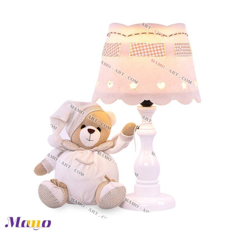 آباژور عروسکی خرس مامو کرم ( نانان ) - بهترین سیسمونی نوزاد و دکوراسیون اتاق کودک