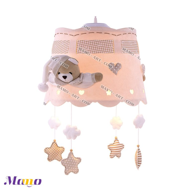 لوستر عروسکی خرس مامو کرم ( نانان ) - بهترین سیسمونی نوزاد و دکوراسیون اتاق کودک