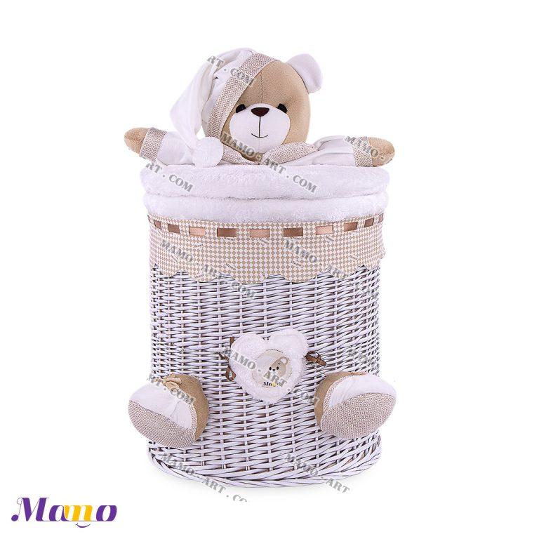 سبد استوانه متوسط خرس مامو کرم ( نانان ) - بهترین سیسمونی نوزاد و دکوراسیون اتاق کودک