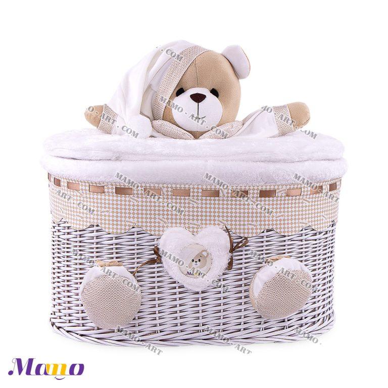 سبد بیضی خرس مامو کرم ( نانان ) - بهترین سیسمونی نوزاد و دکوراسیون اتاق کودک