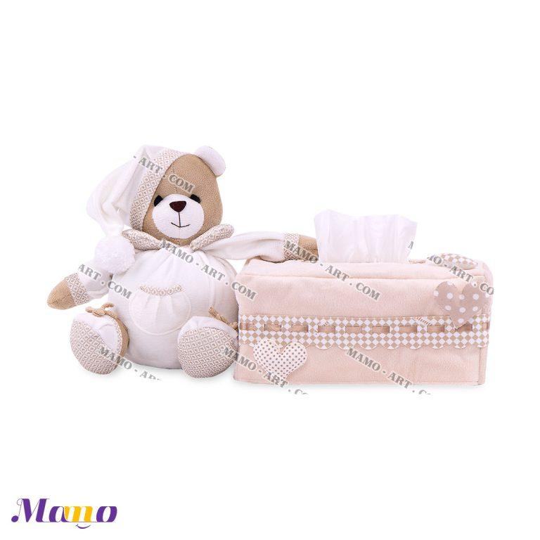 کاور دستمال مستطیل خرس مامو کرم ( نانان ) - بهترین سیسمونی نوزاد و دکوراسیون اتاق کودک