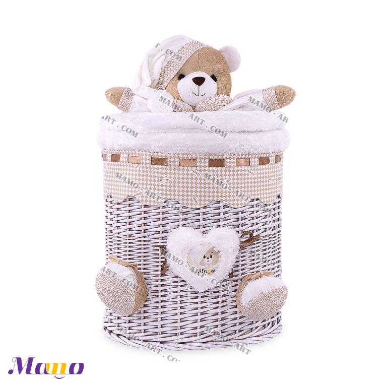 سبد استوانه کوچک خرس مامو کرم - بهترین سیسمونی نوزاد و دکوراسیون اتاق کودک