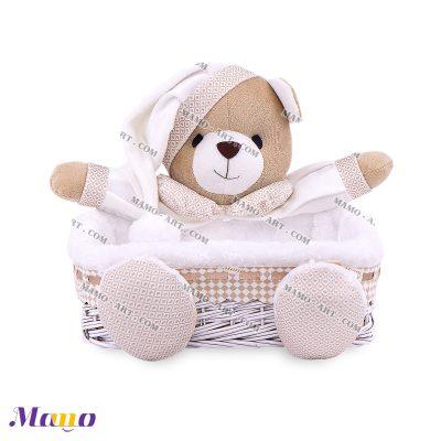 سبد لوازم بهداشتی مربع خرس مامو کرم ( نانان ) - بهترین سیسمونی نوزاد و دکوراسیون اتاق کودک