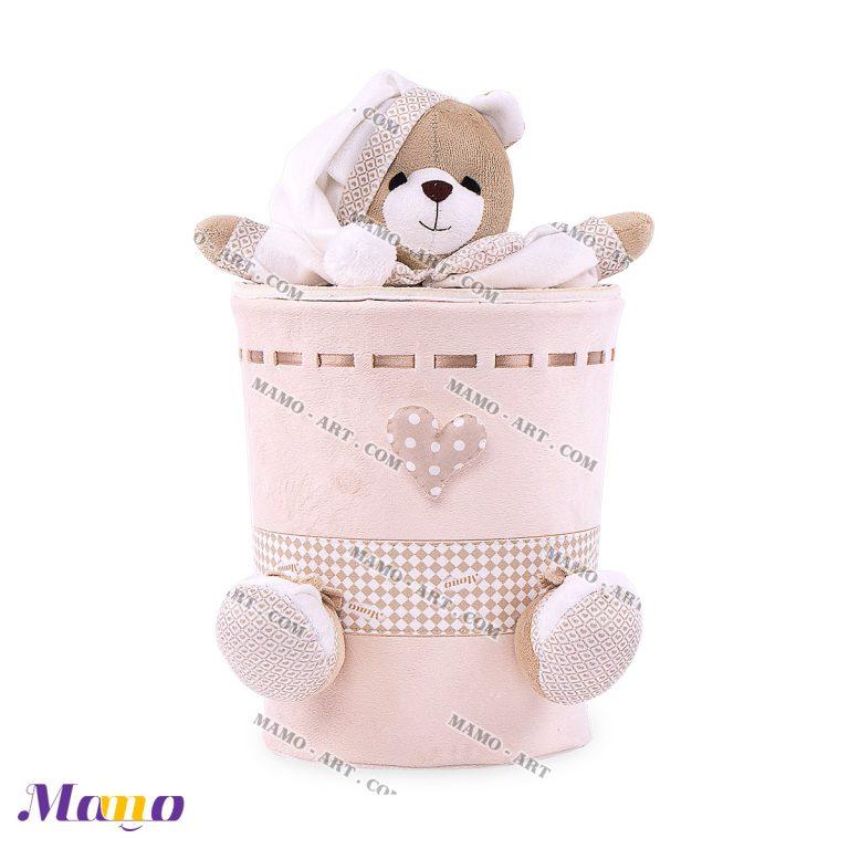 سطل زباله مخمل خرس مامو کرم ( نانان ) - بهترین سیسمونی نوزاد و دکوراسیون اتاق کودک