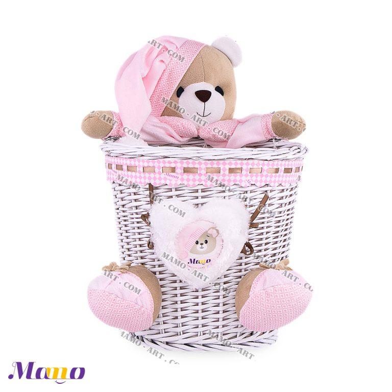 سطل زباله حصیری خرس مامو صورتی - بهترین سیسمونی نوزاد و دکوراسیون اتاق کودک