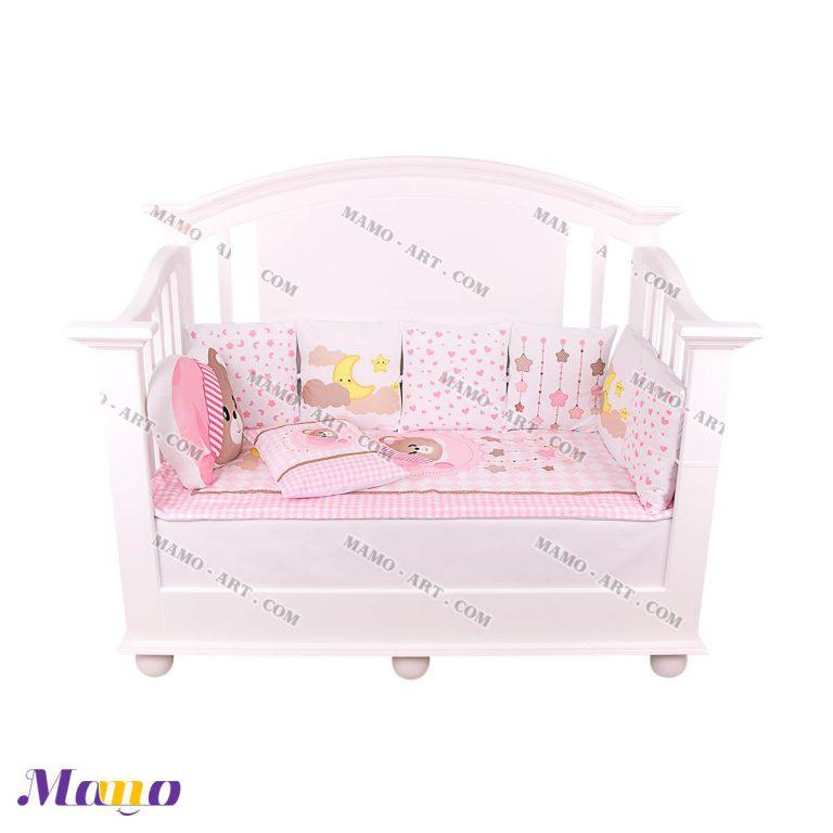 سرویس خواب کودک خرس مامو صورتی - بهترین سیسمونی نوزاد و دکوراسیون اتاق کودک