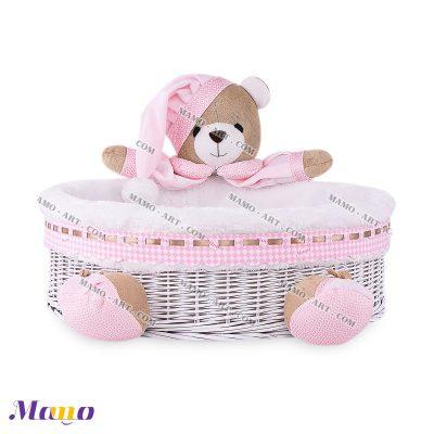 سبد لوازم بهداشتی خرس مامو صورتی - بهترین سیسمونی نوزاد و دکوراسیون اتاق کودک
