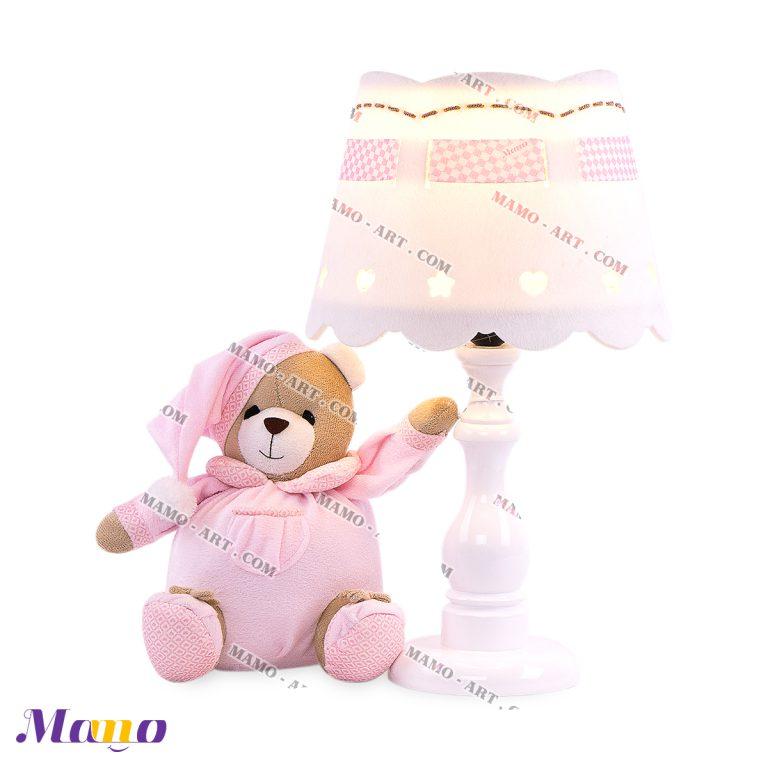 آباژور عروسکی خرس مامو صورتی - بهترین سیسمونی نوزاد و دکوراسیون اتاق کودک