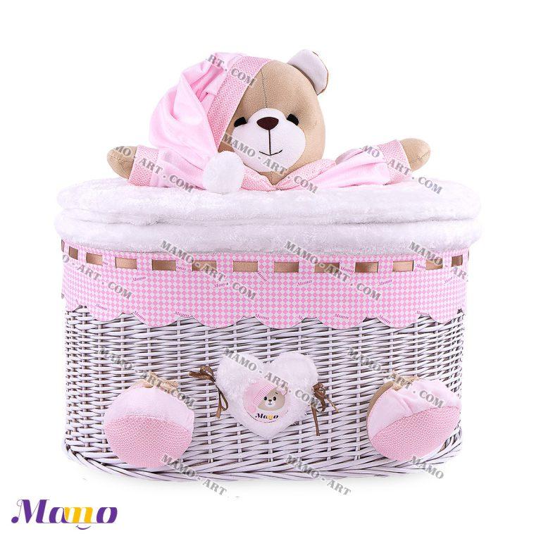 سبد بیضی خرس مامو صورتی - بهترین سیسمونی نوزاد و دکوراسیون اتاق کودک