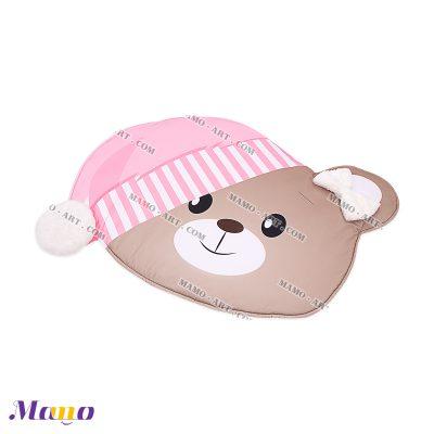 تشک ( فرش ) بازی مخمل نوزاد مامو طرح خرس صورتی