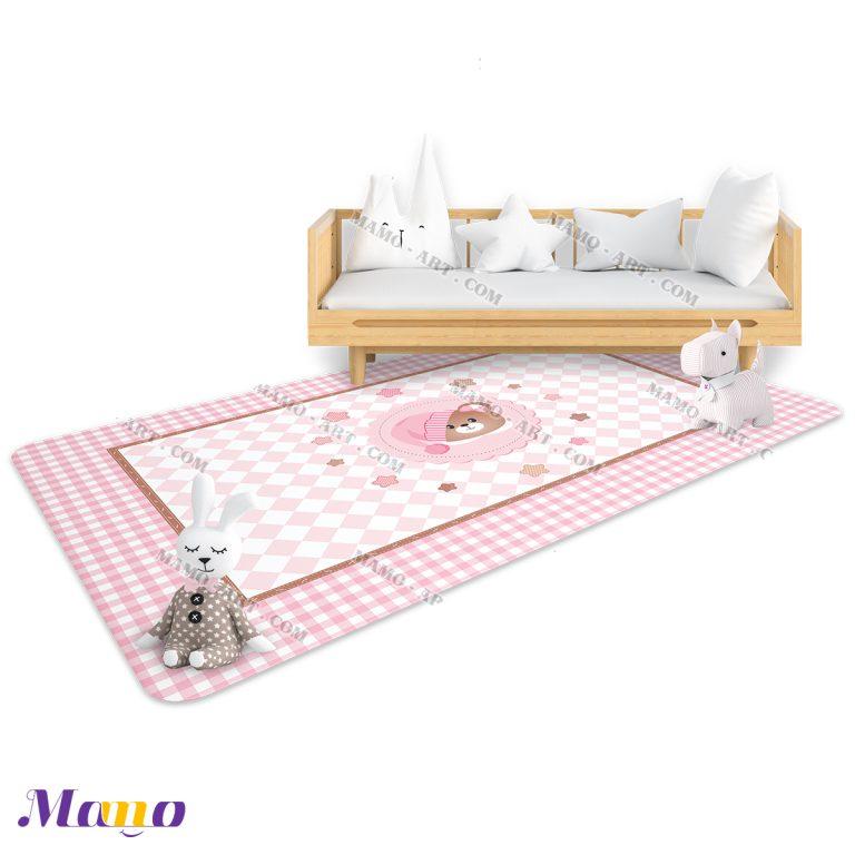 فرش مستطیل فانتزی عروسکی اتاق کودک خرس مامو صورتی - بهترین سیسمونی نوزاد و دکوراسیون اتاق کودک