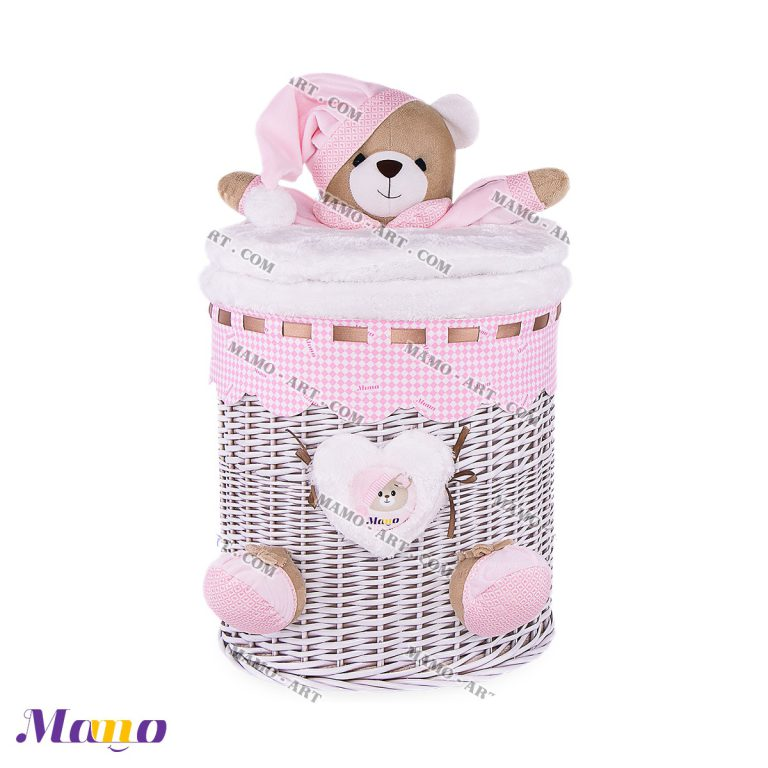 سبد استوانه کوچک خرس مامو صورتی - بهترین سیسمونی نوزاد و دکوراسیون اتاق کودک