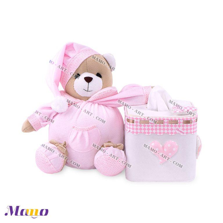 دستمال مربع خرس مامو صورتی - بهترین سیسمونی نوزاد و دکوراسیون اتاق کودک