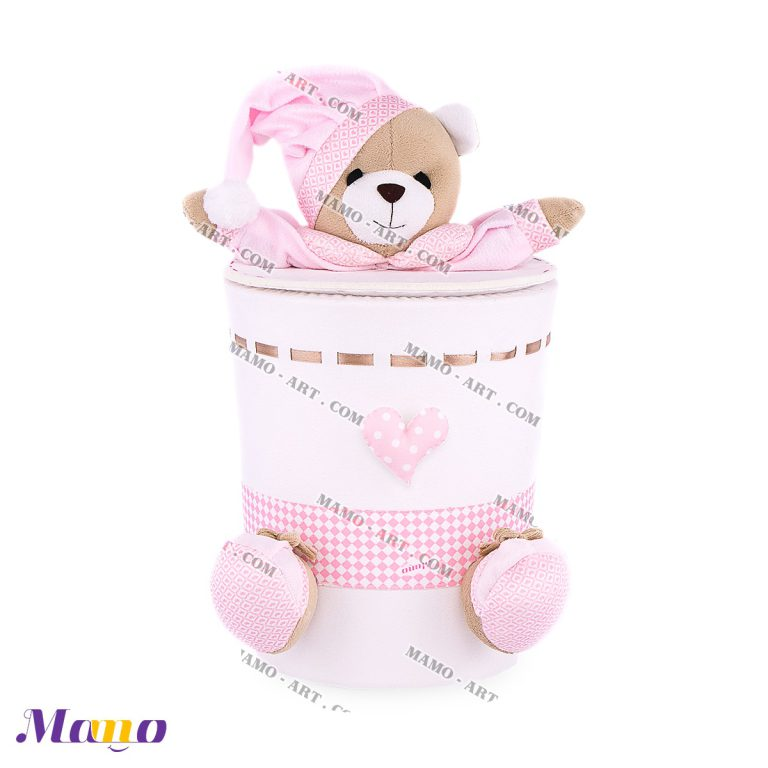 سطل زباله مخمل خرس مامو صورتی - بهترین سیسمونی نوزاد و دکوراسیون اتاق کودک
