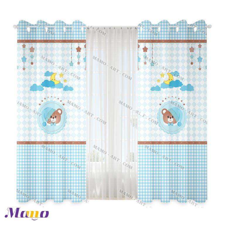 پرده عروسکی اتاق کودک خرس مامو آبی - بهترین سیسمونی نوزاد و دکوراسیون اتاق کودک