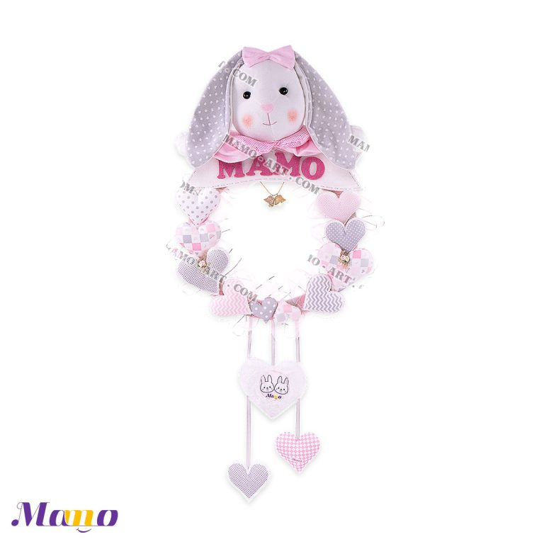 حلقه( آویز اسم ) خرگوش مامو صورتی - بهترین سیسمونی نوزاد و دکوراسیون اتاق کودک