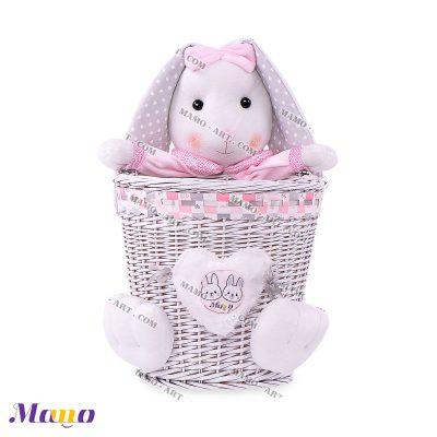 سطل زباله حصیری خرگوش مامو صورتی