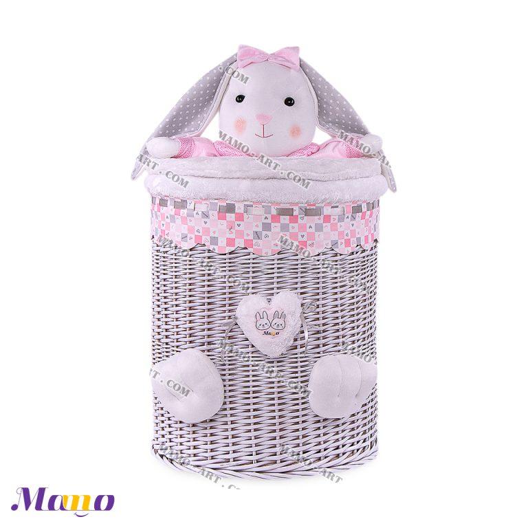 سبد اسباب بازی عروسکی خرگوش مامو صورتی - بهترین سیسمونی نوزاد و دکوراسیون اتاق کودک