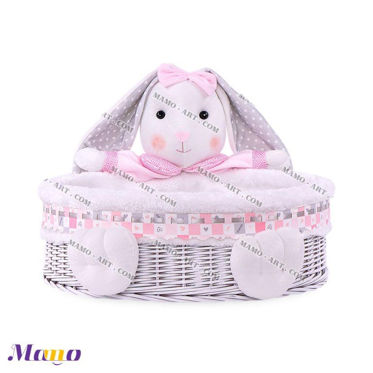 سبد عروسکی لوازم بهداشتی دایره خرگوش مامو صورتی - بهترین سیسمونی نوزاد و دکوراسیون اتاق کودک