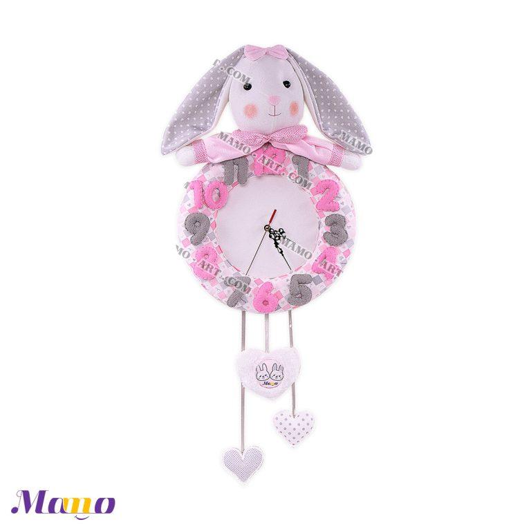 ساعت عروسکی خرگوش مامو صورتی - بهترین سیسمونی نوزاد و دکوراسیون اتاق کودک