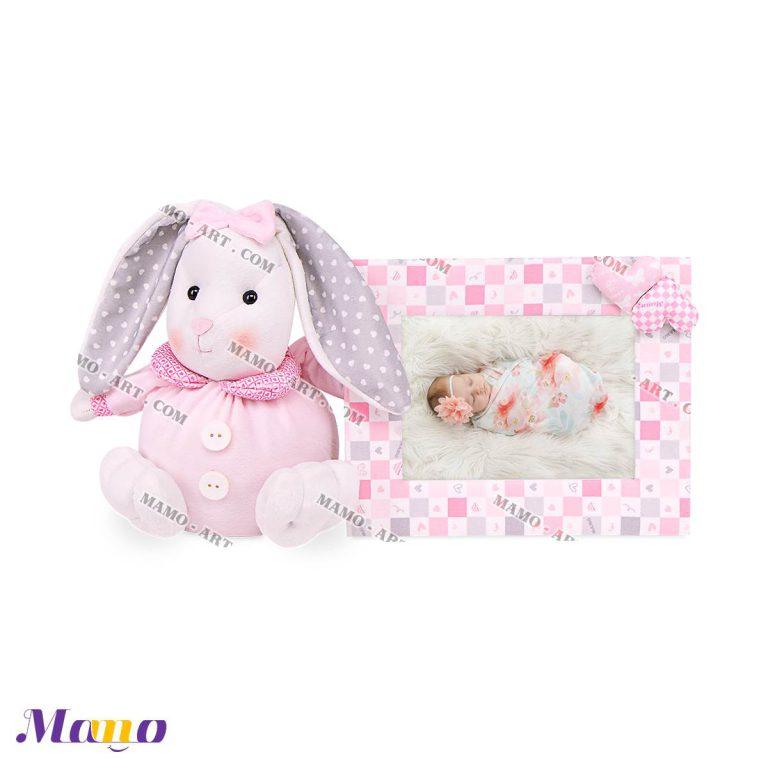قاب عکس مخمل کودک دخترانه خرگوش مامو صورتی - بهترین سیسمونی نوزاد و دکوراسیون اتاق کودک