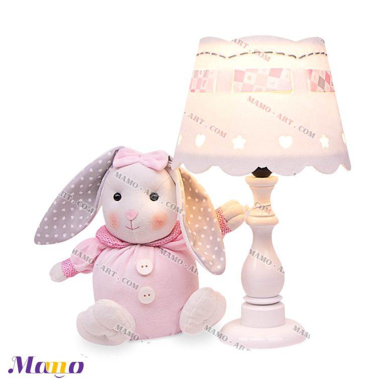 آباژور چراغ خواب دخترانه خرگوش مامو صورتی - بهترین سیسمونی نوزاد و دکوراسیون اتاق کودک