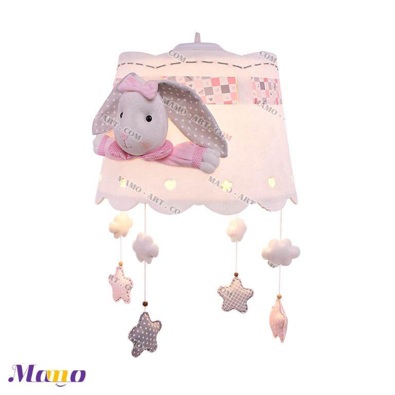 لوستر چراغ خواب دخترانه خرگوش مامو صورتی - بهترین سیسمونی نوزاد و دکوراسیون اتاق کودک