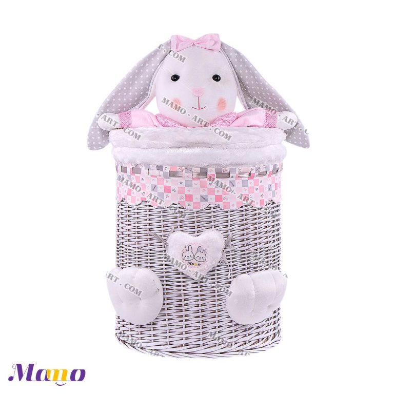 سبد لباس عروسکی استوانه خرگوش مامو صورتی - بهترین سیسمونی نوزاد و دکوراسیون اتاق کودک
