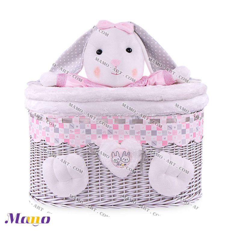 سبد لباس و اسباب بازی فانتزی عروسکی خرگوش صورتی مامو - بهترین سیسمونی نوزاد و دکوراسیون اتاق کودک